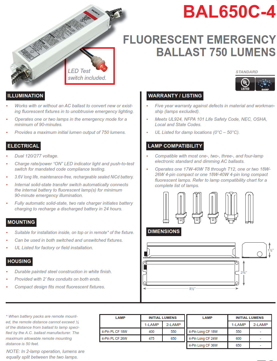bal650c-4 750 lumen 4 pin compact fluorescent fluorescent emergency ballast  - value engineered lighting  value engineered lighting