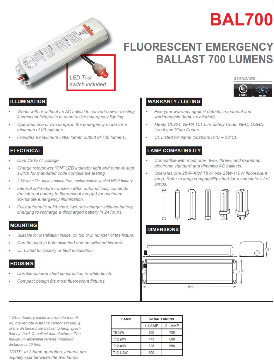 BAL700 700 Lumen Emergency Fluorescent Ballast
