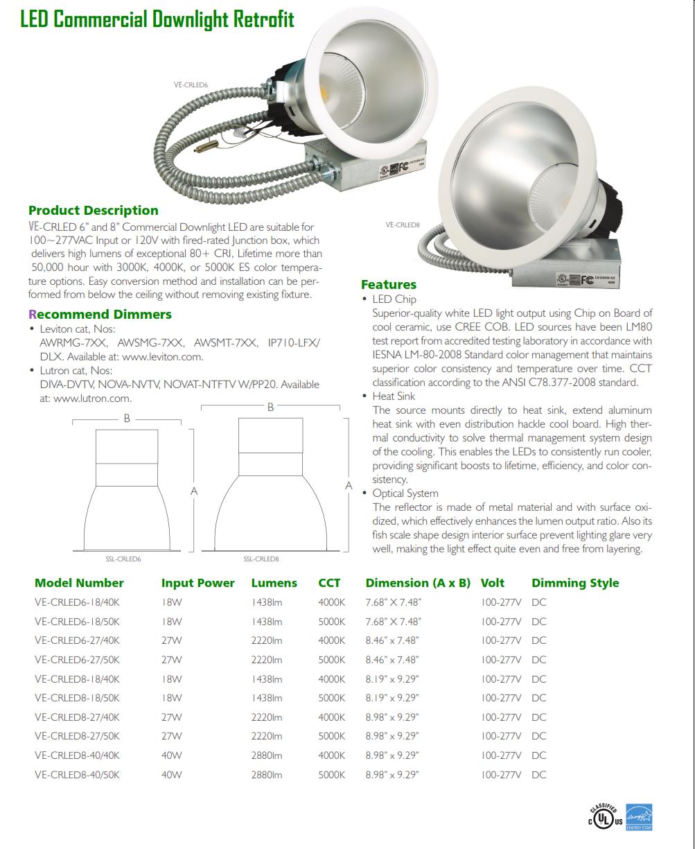 Led Commercial Downlight Retrofit Open Trim Lighting