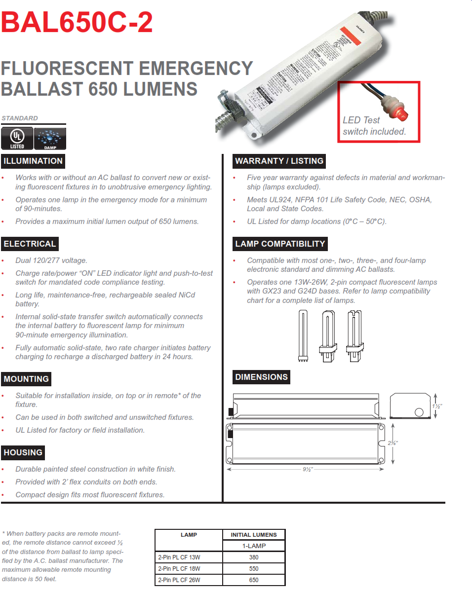 Bal650c 4 Ballast Wiring Diagram Trusted Diagrams Bal3000 Em 2 500 Lumen Pin Compact Fluorescent Emergency Resistor Purpose