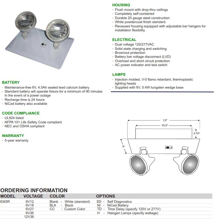 Recessed Twin Head Emergency Lighting Supply Outlet