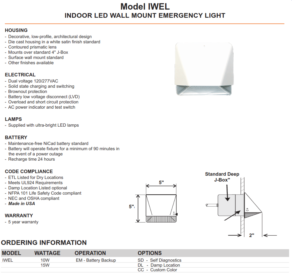 Iwel Architectural Commercial Emergency Lighting Wiring Diagram For 12 Volt Light Product Description