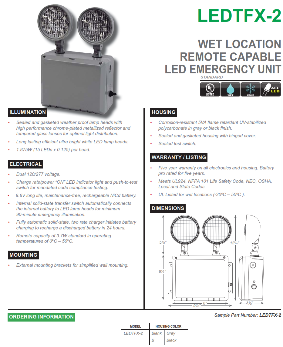 Ledtfx 2 wet location remote capable led emergency light for Emergency lighting test certificate template